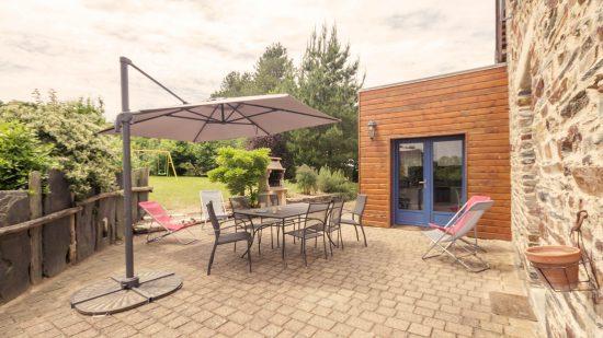 terrasse sud-ouest gîte du petit bois Guémené-Penfao 44 vacances au vert au calme confort